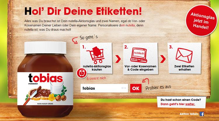 Screenshot: www.nutella.de/rundumdeinnutella